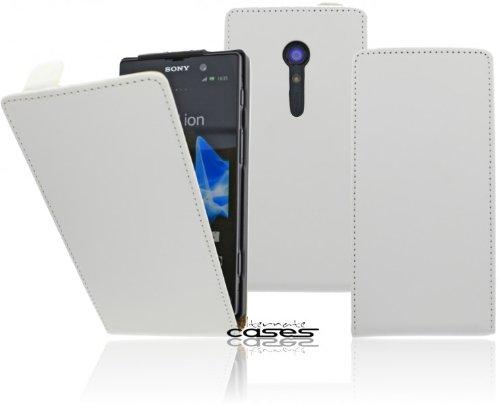 Premium Flip Case Handytasche für das Sony Xperia Ion Flip Cover Etui Schutzhülle Tasche Hülle mit Magnetverschluss in Weiß