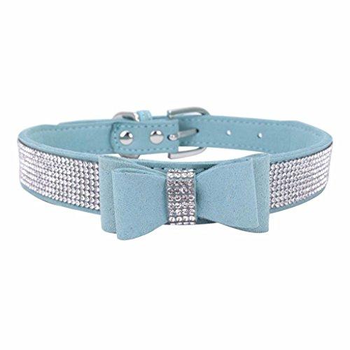 Hmeng Hundehalsband, Hunde Katze Welpen Bowknot Diamant Strass Halsband Halsbänder Verstellbar Halskette für Haustier Hunden Katzen (XXS, Himmelblau)