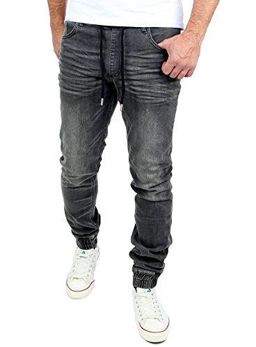 Used Look Jeans-Herren Slim Fit Jogging-Hose Jogger RS-2073 Schwarz M ()