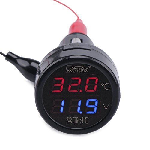 Droking Volt multimetro digitale 12V/24V Batteria dell'auto tester di tensione -10~80℃ misuratore di temperatura Termometro 2in1 Doppio pannello Display a LED Presa accendisigari (Rosso + Blu)