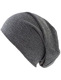 Dunkelgraue Jersey Beanie Mütze für Herren und Damen