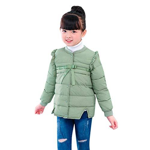 Susenstone Enfant Manteau en Coton Fille Garcon Hiver Blouson Coupe-Vent éPais Couleur Unie NœUd Pas Cher Chaud Mignon Coat en Coton 18 Mois - 5 Ans (3-4 Ans(Taille:120CM), Vert)