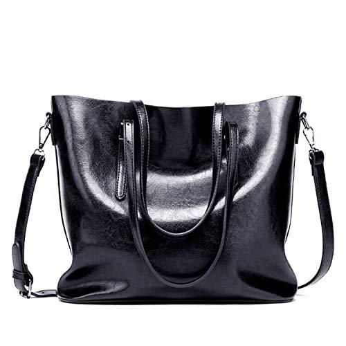 Czemo Damen Handtasche Leder Schultertasche Große Shopper Tasche Henkeltaschen Weich Damentasche (Schwarz)