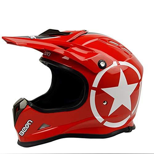 Lanbinxiang@ Offroad-Profi-Offroad-Helm Motorrad schöner Helm Vier Jahreszeiten Reiten Motorradfahrer Rennhelm Schutz (Farbe : Red Star, Size : XL)