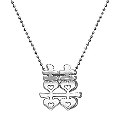 "Alex Woo Women's ""Little Faith"" 925 Sterling Silver Chinese Double Happiness Pendant Necklace, 40cm (16 Inch)"