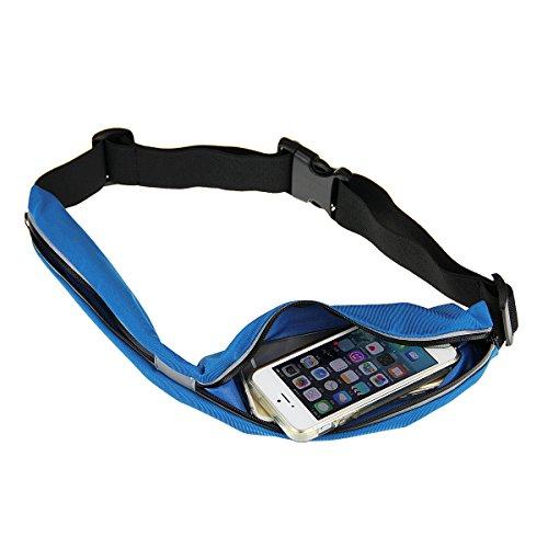 Clutches Gürtel Gürteltasche Handgelenkstaschen Umhängetaschen Hüftgürtel Fitneßgürtel Hüfttasche für Sport oder Reisen flache und enganliegende Bauchtasche für Handy Modischer Laufgürtel Blau