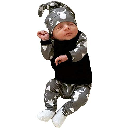 feiXIANG Neugeborenes 3er Outfits Set, T-Shirt Hosen Hut Baby Kleidung Hirsch Drucken Jungen Bekleidungsset (Schwarz,70) -