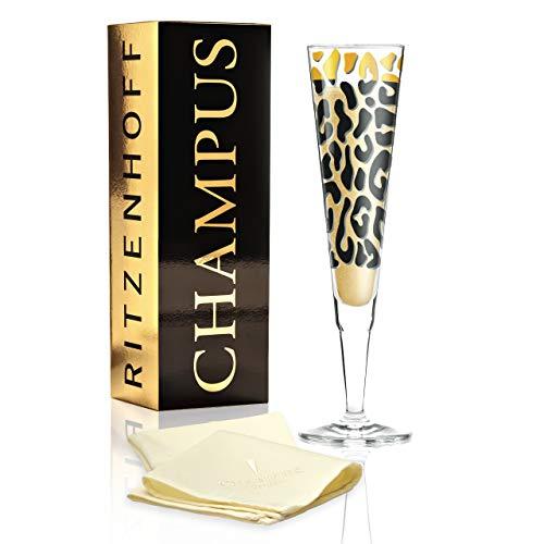 RITZENHOFF Champus Champagnerglas von Liana Cavallaro, aus Kristallglas, 200 ml, mit edlen Goldanteilen, inkl. Stoffserviette