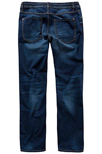JP 1880 Herren große Größen bis 7 XL | Jeanshose| Schlupfhose in 4-Pocket-Form | Elastisch, Used Look & Kordel | 708367 Darkblue