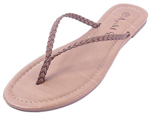 AgeeMi Shoes Damen Rein ohne Absatz Getrennt Zehe PU Sandalen,EuL25 Braun 37 2e4cb41be6