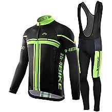 Inbike Maglia Ciclismo, Boby Tuta Manica Lunga e Pantaloni con Bretelle Imbottiti Gel da MTB per Uomo(Bretelle,M)