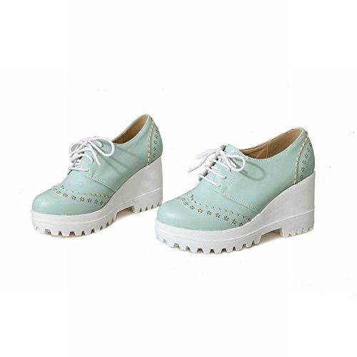Mee Shoes Damen süß modern bequem runde Keilabsatz mit Schnürsenkel Blümchen dicker Absatz Plateau Pumps Blau