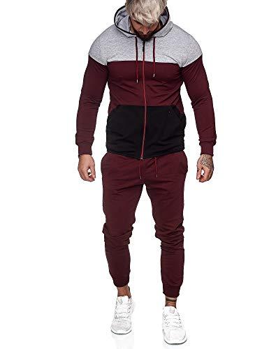 OneRedox | Herren Trainingsanzug | Jogginganzug | Sportanzug | Jogging Anzug | Hoodie-Sporthose | Jogging-Anzug | Trainings-Anzug | Jogging-Hose | Modell JG-1083 Grau-Bordeaux-Schwarz S