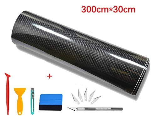 CompraFun 6D Auto Folie, selbstklebend Auto shutz Folie Kohlefaser Vinyl, 300 * 30cm Carbon Folie Aufkleber Set
