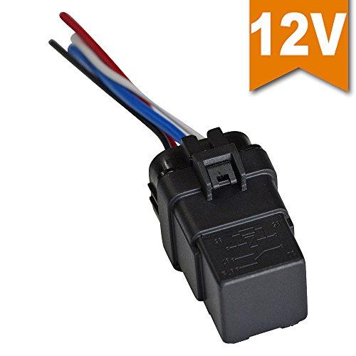 Ehdis® [1 Confezione] Auto Car Truck Relay & Socket 40 AMP relè cablaggio 12V 40A SPST Relay Socket Plug 4 pin 4 filo Bosch