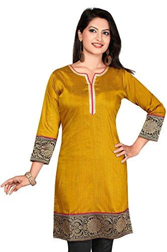 Abhir Cotton Casual printed Regular Fit 3/4 th Sleeves Gold Kurtis HL0309-4XL