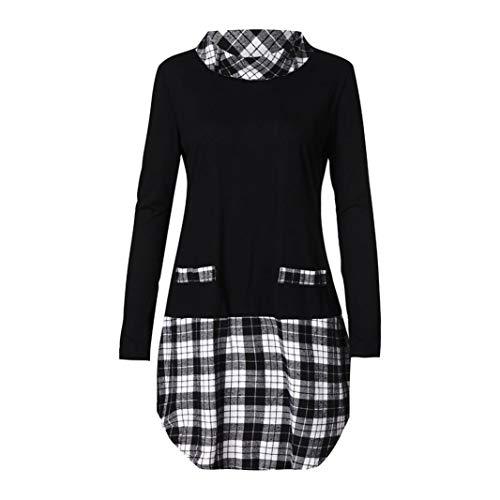TEBAISE Damen Große Größen Freizeit Lange Ärmel Rundhalsausschnitt Bluse Locker Shirt Elegante...