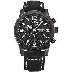 Mann, Quarzuhren,Armbanduhr, Geschäft, Freizeit, im Freien, Multifunktions, 6 Zeiger, PU-Leder, W0533