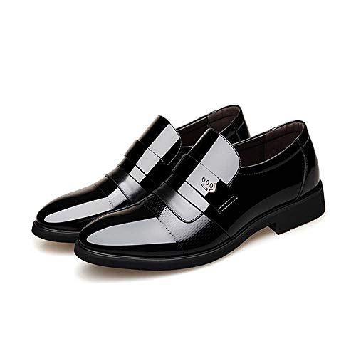 Mann Classic-slip (CATEDOT Männer Oxford Schuhe Slip Business Classic Slip on Echtes Leder Schuhe für Hochzeit Arbeit (Color : Black, Size : 43EU))