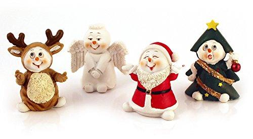 Figur Lustig Kostüme (4x Deko Figur Motiv Schneemann im Kostüm im Set je 5,5 cm, Polystein farbig, lustige Dekofiguren Winter Weihnachten Winterdeko, Geschenkanhänger)