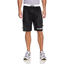 Spalding Hose & Shorts Essential Reversible - Pantalones cortos de baloncesto para mujer, color negro / blanco, talla L