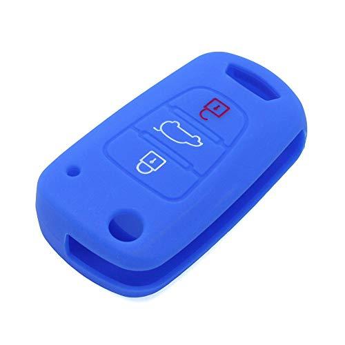 BROVACS Silicone Cover Protector Case Skin Jacket fit for HYUNDAI KIA 3  Button Flip Remote Key Fob CV9100 Deep Blue