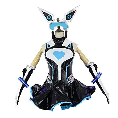 Mädchen Kostüm Hacker - GRYY Cos Kleidung, Mädchen Hacker Cosplay Kostüm Animation Spiel Haut Elektronische Sci-Fi COS Festival Kleid Erwachsene,Black-L