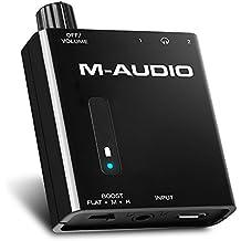 M-Audio Bass Traveler - Amplificador portátil de auriculares cos dos salidas y 2 niveles de realce de sonido