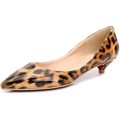 De las mujeres con estampado de leopardo con tacón bajo patentes piel Pointy Toe zapatos de bomba de vestido, color marrón, talla 40 EU