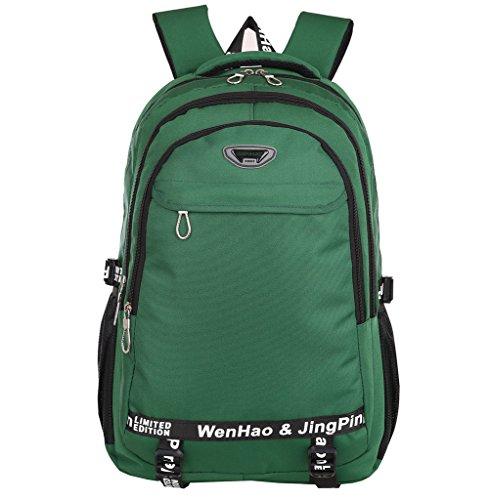 Super modern - zaino in nylon, unisex, impermeabile, per scuola, sport, escursioni, utilizzabile come borsa per computer portatile, donna uomo bambino, green, l