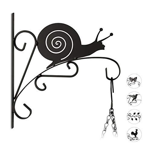 Relaxdays Blumenhaken mit Schnecke, Blumenampelhalter für Wand, Metall, Garten-Deko Tier, HxBxT: 30 x 28 x 2 cm, schwarz