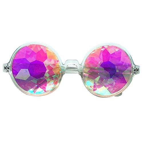 AOLVO Kaleidoskop-Brille, EDM, Festival, Prisma, Beugung, Regenbogenfarben, Sonnenbrille, Clear Frame