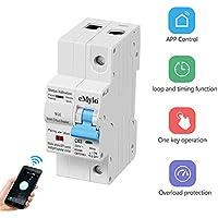eMylo Smart WiFi Disyuntor 2P 63A 220-240V interruptor en miniatura Interruptor de control remoto inalámbrico Recierre automático Protección contra sobrecarga Temporización Retardo Soporte Alexa/Echo