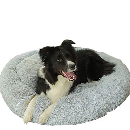 CJDQ Weiches, großes Plüschbettkissen Waschbares Hundebett rutschfeste Matratze Haustierkorb Maschinenwaschbares Haustierbett für mittelgroße Hunde in Grau -
