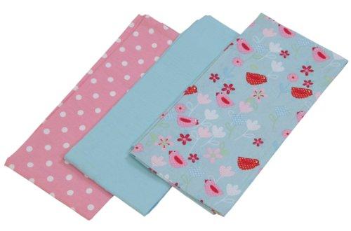 Homescapes Geschirrtücher Set Birds and Flowers 3tlg, rosa blau ca. 50 x 70 cm, Geschirrhandtücher aus 100% reiner Baumwolle, waschbare Trockentücher Geschirr (Topflappen, Geschirrtücher)