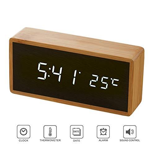 HEDDK Reloj Despertador Digital Espejo de Madera de Bambú ...