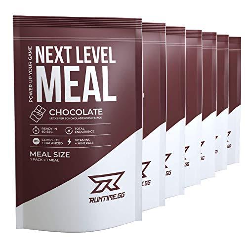 Runtime Next Level Meal Chocolat - substitut de repas complet - satiété prolongée, énergie, concentration et performances avec vitamines et nutriments