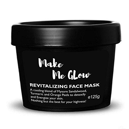 Ryaal Make Me Glow - Skin Brightening Face Mask with Real Sandalwood Powder, Organic Turmeric Powder, Rose Petals, Fades Dark Spots, Acne Scars Treatment, Discoloration, Hyper Pigmentation (125GM)