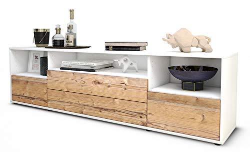 Stil.Zeit TV Schrank Lowboard Azula, Korpus in Weiss Matt/Front im Holz-Design Pinie (180x49x35cm), mit Push-to-Open Technik und Hochwertigen Leichtlaufschienen, Made in Germany