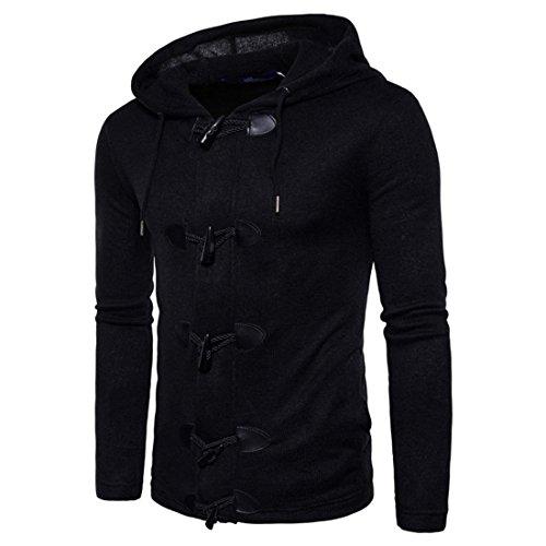 Herren Jacke Hooded Btruely Männer Oberbekleidung Winter Mantel Herbst Männer Parka Slim Warm Herren Mantel (S, Schwarz)