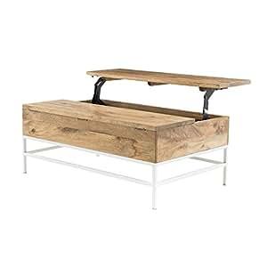 Miliboo Tavolino basso sollevabile in legno di mango e metallo bianco, modello: BOHO