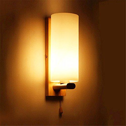 LIYAN minimalistische Wandleuchte Wandleuchte E26 /E27 Chinesische Holz Bügeleisen Nachttischlampe Wandleuchte Schlafzimmer Wohnzimmer Ideen führte die Straße eiche Glas Wandleuchten/10 x 28 cm