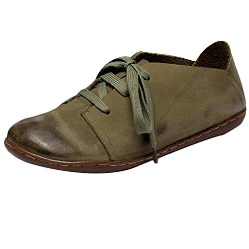 MatchLife Damen Retro Leder Schnürsenkel Flache Schuhe Style1-Grün