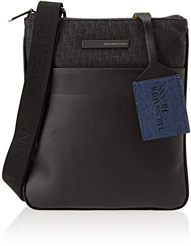 Trussardi Jeans 71B00095-9Y099999, Borsa Messenger Uomo, Nero, 23x27x1 cm (W x H x L)