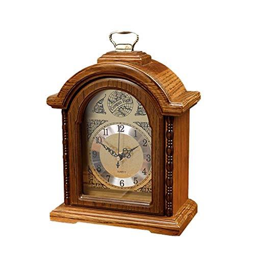 Tischuhren Vintage Kamin Uhr - American Red Oak Clock - Desktop Europäischen Wohnzimmer Stille Dekoration - Kamin Uhr