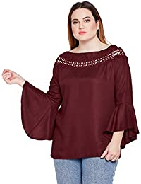 972384a1b37 STYLE QUOTIENT Women Maroon Broad Lace Bell Sleeve Plus Size Tops for Women  Western Wear Causal