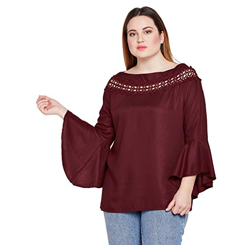 Style Quotient Women Maroon Broad Lace Bell Sleeve Plus Size Tops for Women Causal Party top for Girls Big Size, 2XL-Maroon