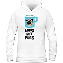 Sudadera con capucha de mujer Mugs Not Pugs by Shirtcity