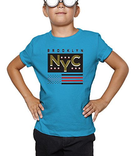 Billion Group | New York Brooklyn Nyc Original Wear | City Collection | Boys Classic Crew Neck T-Shirt Blu Small
