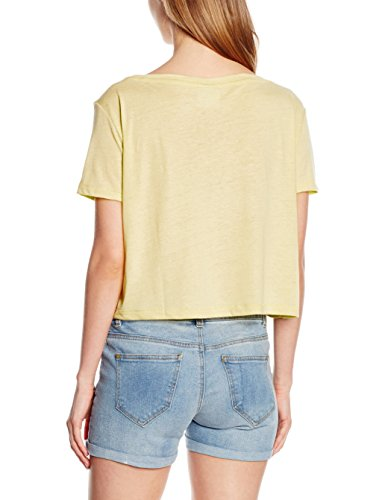 Vero Moda Vmlualissy Ss Wide Cropped Top Dnm A Wp, T-Shirt Donna Giallo (Pale Banana Detail:MELANGE)